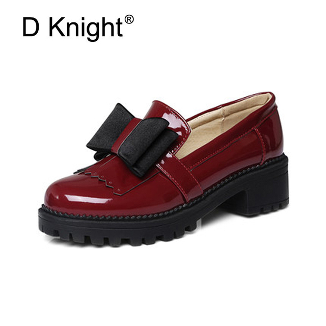 086b1d25ad6 Fashion Bow Tassels Ladies Loafers Shoes Woman Black Red Thick Bottoms High  Heels Women Casual Platfrom