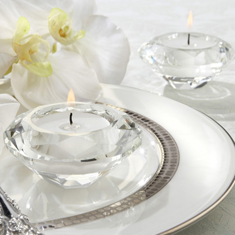 Free Shipping Wedding Gifts Crystal Diamond Shape Candle Holder for Table Decoration 2PCS LOT