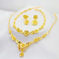 Luxury Flower Jewerly Set Women Bracelet Earrings Necklace Golden 24k Solid Real Yellow Golled Filled Lucky Wedding Jewelry Gift