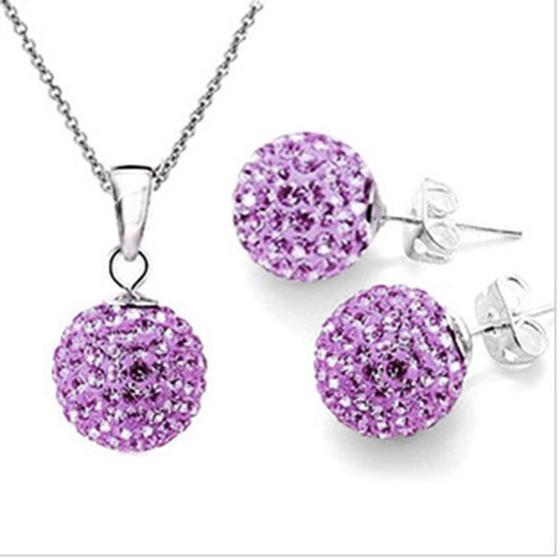 1 Set Shiny Jewelry Crystal Solid Silver Disco Ball Stud Earring Pendant Necklace Women Jewerly Set