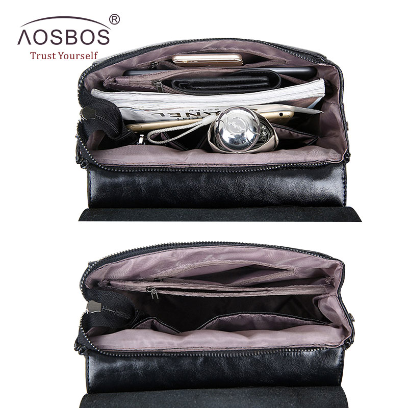 Aosbos Fashion Women Backpack High Quality Youth Pu Leather School Shoulder Bag For Teenage Girls Female Vintage Lady Style #5