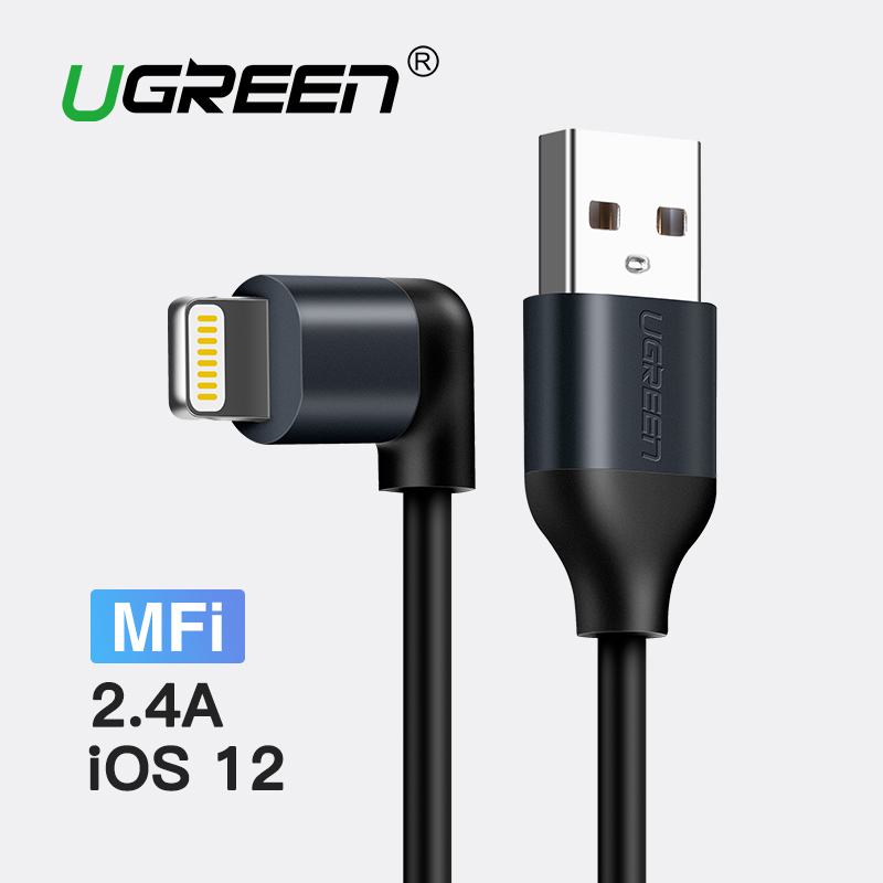 Ugreen para Apple MFi Cable USB para iPhone 7 Xs Max 2.A Cable de datos de carga rápida para el teléfono móvil del iPad cable cargador para el iPhone 5