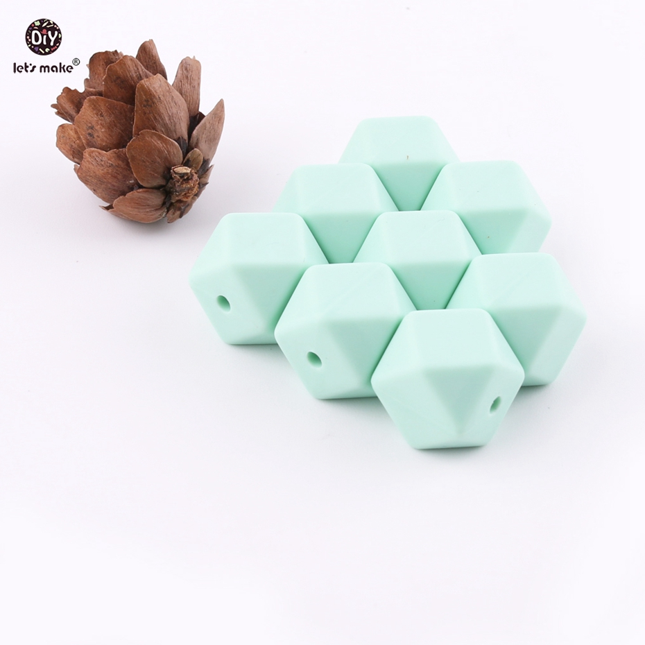 Lets make Candy Color 5pc 14mm Mint Silicone Beads Teether Can Chew Octagonal Beads DIY Teething Hex Beads Baby Teether
