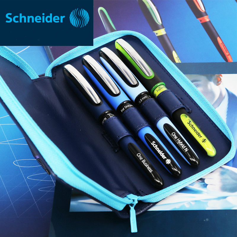 4pcs/set Germany Schneider Gel Pen Signing Pen Highlighter Marker Pen 0.6mm/0.3mm/0.5mm/1-4mm Leather Pencil Box Case Gift