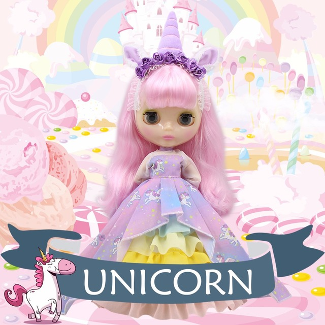 Isabelle – Premium Unicorn Custom Blythe Doll with Clothes Cute Face