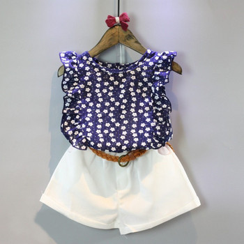 Girls Clothing Sets summer casual children Clothes Petal Sleeve Floral Printing vest+White Short 2Pcs for Girls Suits conjuntos casuales para niñas