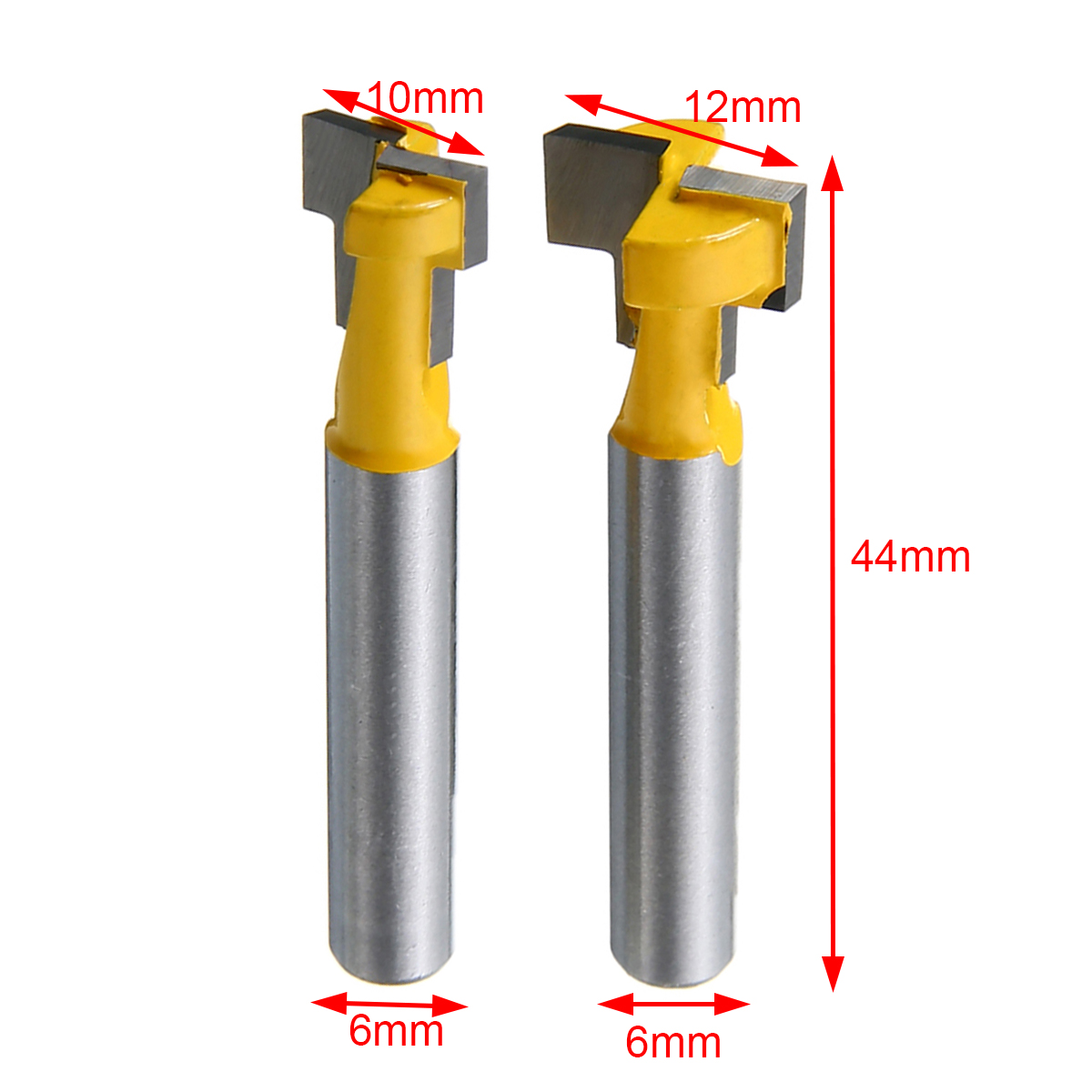2pcs 3/8 & 1/2 T-Slot Router Bits 1/4 Shank Woodworking Cutter with High Toughness Mayitr high grade carbide alloy 1 2 shank 2 1 4 dia bottom cleaning router bit woodworking milling cutter for mdf wood 55mm mayitr