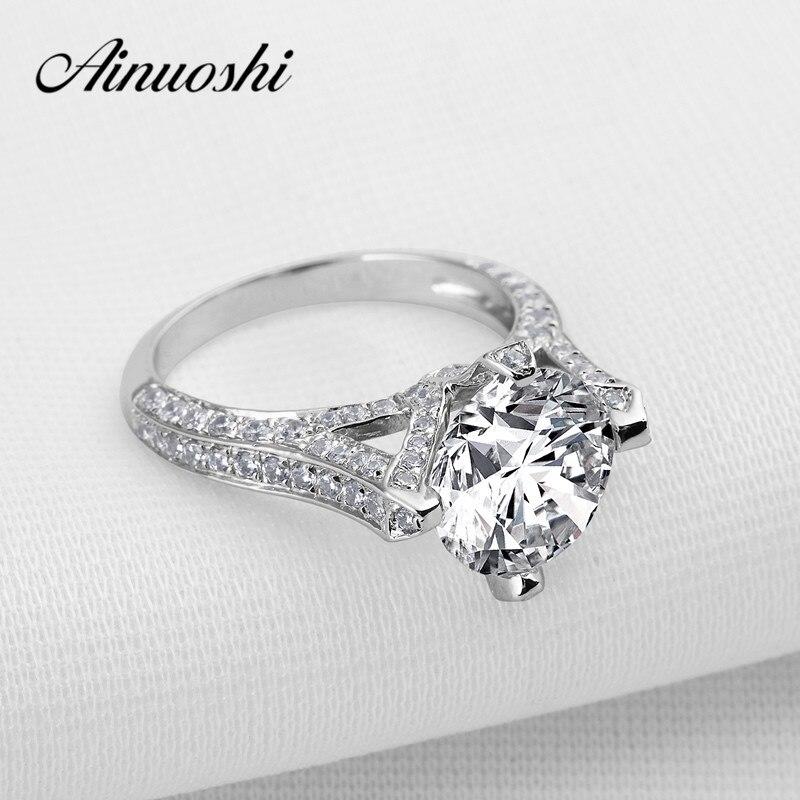 Takı ve Aksesuarları'ten Nişan Yüzükleri'de Lüks Gerçek 925 Ayar Gümüş Alyans Zarif 3.5 Karat Taç Nişan Anillos Kadınlar Düğün yıldönümü yüzüğü Boyutu 4 10'da  Grup 1