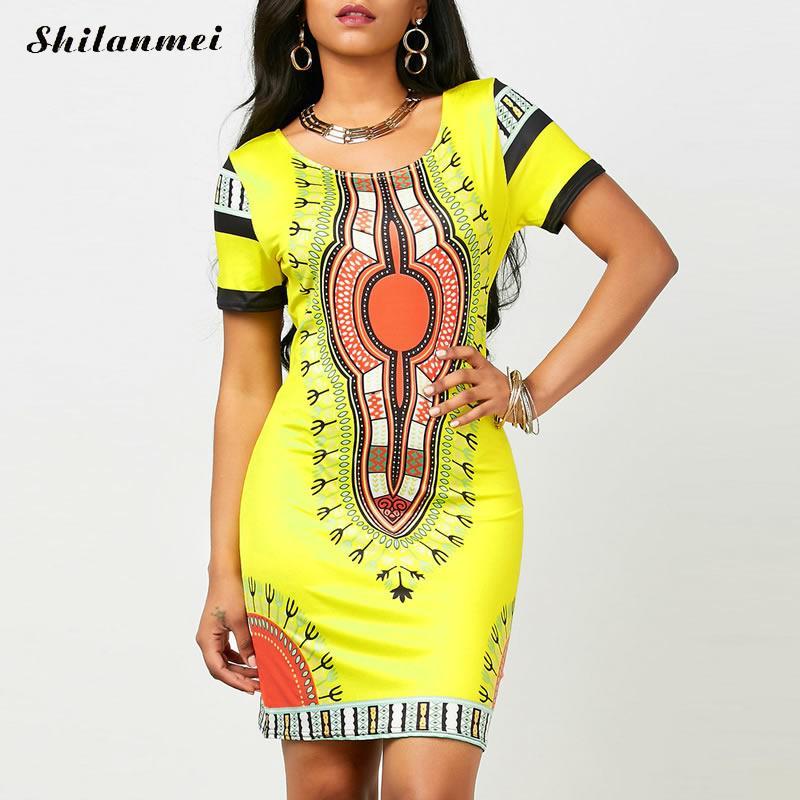 Sommer Dashiki Kleid für Frauen 2017 Casual Mini Afrikanischen Robe Damen Afrikanische...