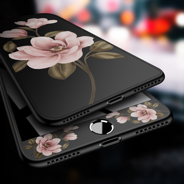 360 Degree Full Cover Case For iPhone 8 Case Flower Cover Bumper For iPhone 6 6s 7 8 Plus X Shockproof Fundas 3D Relief Coques