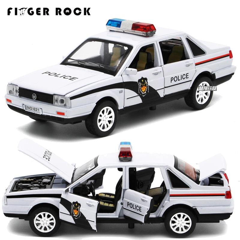 Volkswagen Santana Police Auto Model 1:32 Diecast Metal Simulation Vehicle 6 Doors can be Openeds Car-styling Alloy Toy for Kid