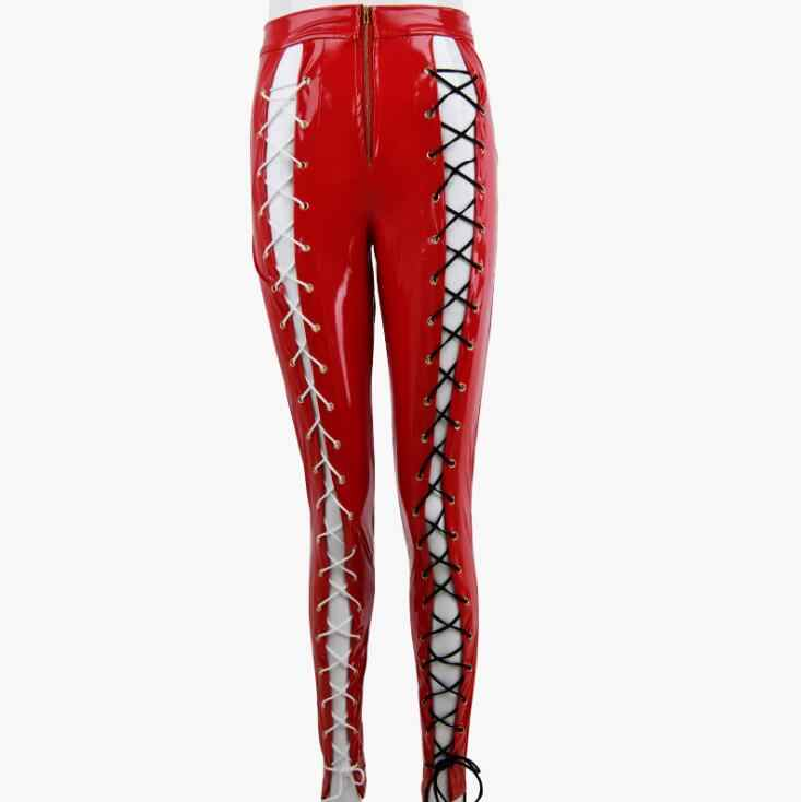191d7ab55be01 ... Red PU Leather Bandage Bodycon Pants Women Autumn Winter High Waist Lace  Up Trousers Casual Hollow ...
