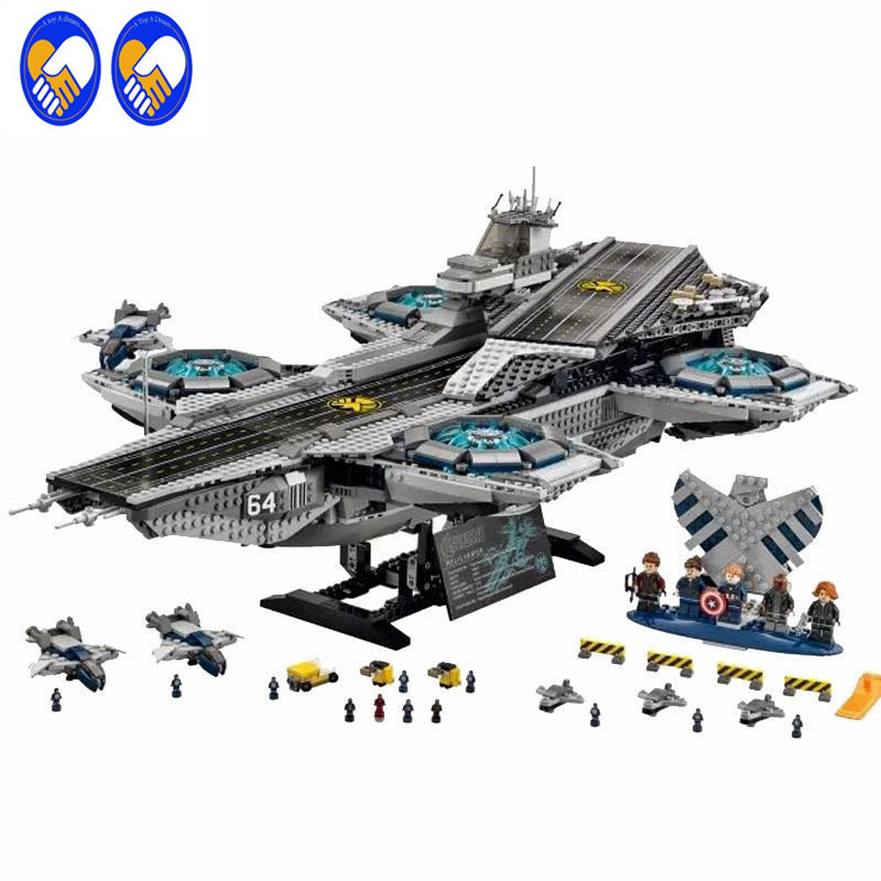 A Toy A Dream Lepin 07043 with 76042 The Shield Helicarrier 3057 Pcs Mini Brick Marvel Super Heroes Building Blocks Toys For Kid dhl lepin 07043 3057pcs super heroes the shield helicarrier model building kits blocks bricks boy toys compatible 76042