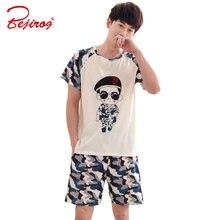 Bejirog camouflage uniform print short sleeved pajamas set for men sleepwear pyjamas piyamas cotton nightwear shirt+pants summer