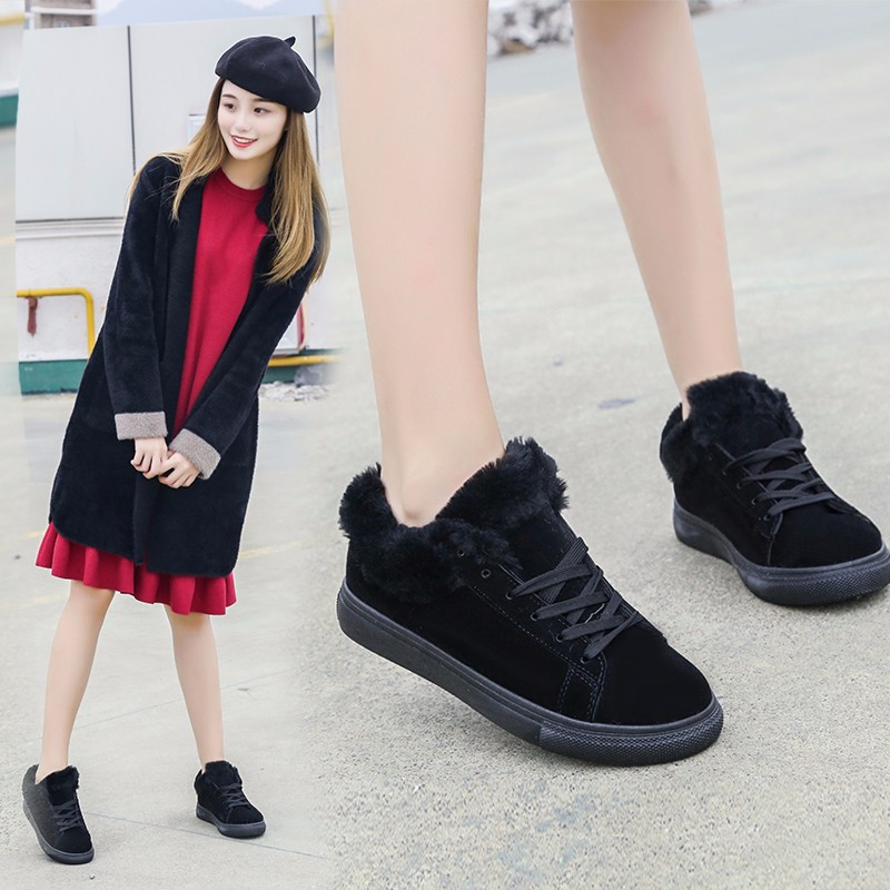 Women Flats For Winter Plush Warm Shoes Casual Flat Heels Lace Up Ladies Shoes Size 35-40 Black Gay Pink Fashion Fur Shoes NX5 (27)