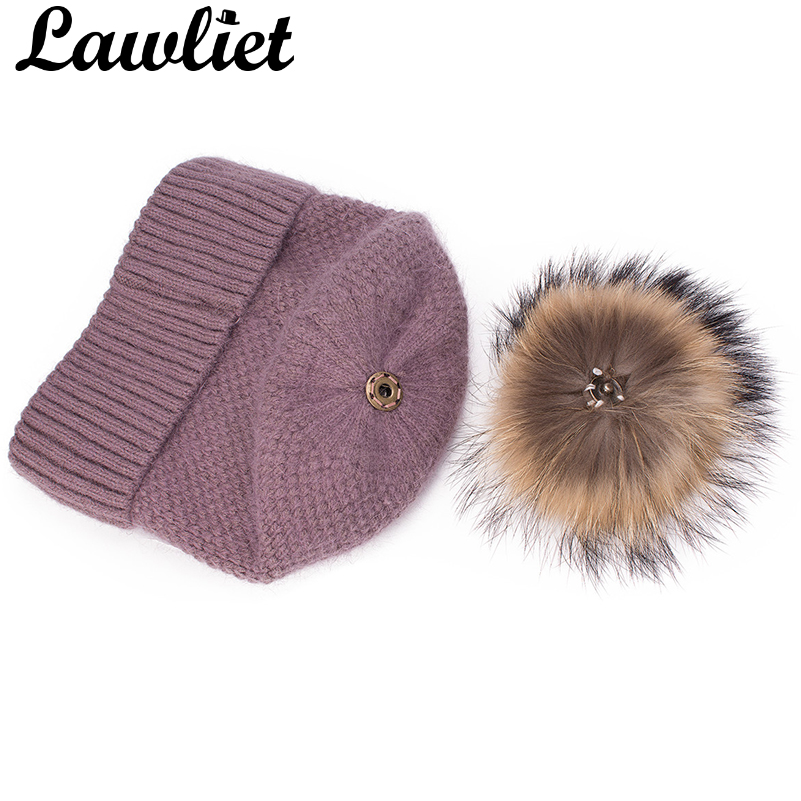 4851eefee74 Lawliet Turn Up Womens Winter Hats Rabbit Hair Angora Knitted Slouchy Baggy  Beanie Bonnet Cap Fur Pom Pom Fleece Inside Hat-in Skullies   Beanies from  ...