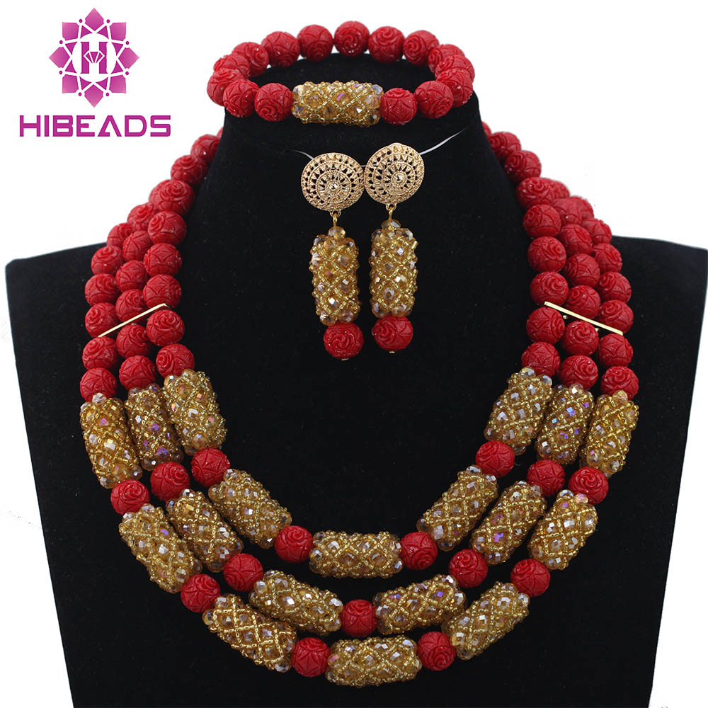 Best Sale Gold Mix Red Nigerian Wedding Beads Charming African Plastic Necklace Sets Handmade Design Free Shipping QW903Best Sale Gold Mix Red Nigerian Wedding Beads Charming African Plastic Necklace Sets Handmade Design Free Shipping QW903