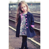 2016 Hot Sale Kids Girls Clothes Winter Trench Coat Long Sleeve Solid Autumn Button Polka Parka