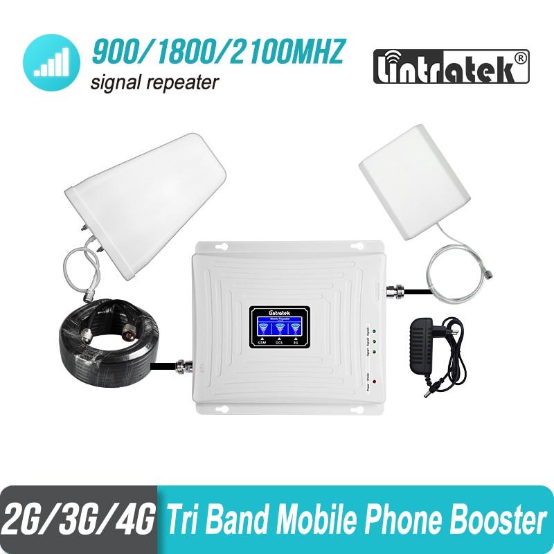 Lintratek 2g 3g 4g Tri banda de señal de 900 de 1800, 2100 GSM WCDMA UMTS y LTE repetidor de celular 900/1800/2100 mhz amplificador de S6j4