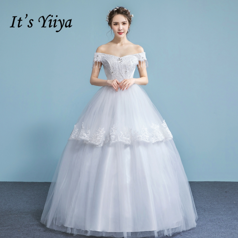 It's YiiYa Off White Boat Neck Sleeveless Wedding Frocks Luxury Crystal Sequined Embroidery Charming Tiered Wedding Gown A630