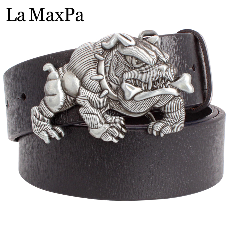 Geschenk Der Männer Gürtel Mode Coole Männer Gürtel American Bulldog Bully Pitbull Metall Dornschließe Rindsledergürtel Hund Muster