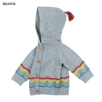 MILANCEL 2018 Baby Sweaters New Baby Girls Winter Clothes Hooded Baby Knit Clothes Toddler Boys Sweaters