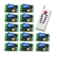 RF Wireless Switch 1Transmitter&12Receiver 85V 250V 1CH for Light/LED/Lamp Applicance Toggle Momentary 4340