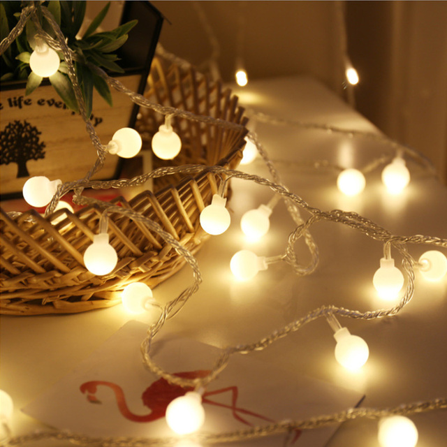 2M 10M Garland Fairy LED Ball String Lights Waterproof For Christmas Tree Wedding Home Indoor Decoration EU Plug/Battery Powered