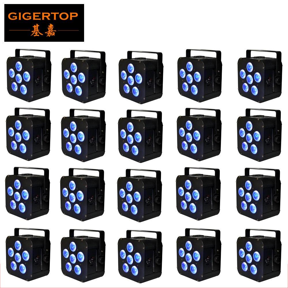 Gigertop Black Housing Battery Wireless IRC Stage Flat Led Par Light 8800HA Li Rechargable Battery DMX/Auto/Sound/Remote Control