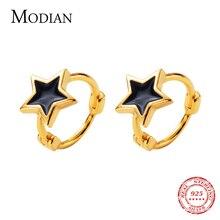 موديان الأسود المينا نجوم مجوهرات للبنات والنساء رائعة الذهب اللون 925 فضة موضة الخماسي هوب أقراط
