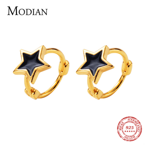 Image 1 - Modian Black Enamel Stars Jewelry For Girl & Women Exquisite Gold Color 925 Sterling Silver Fashion Pentagram Hoop Earrings