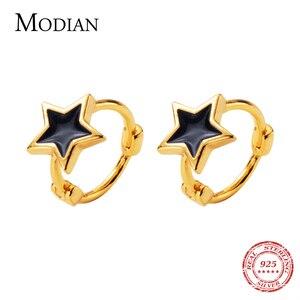 Image 1 - Modian noir émail étoiles bijoux pour fille et femmes exquise couleur or 925 en argent Sterling mode pentagramme boucles doreilles