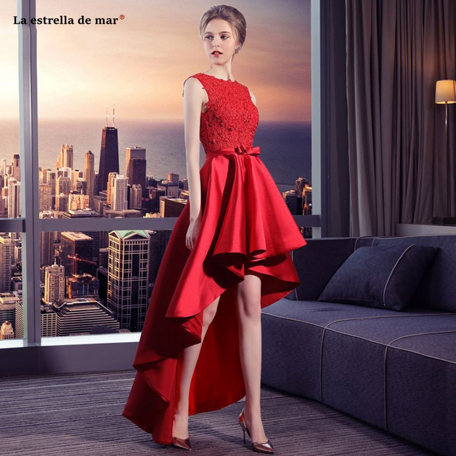 La estrella de   dress   for wedding party2019 new Scoop neck lace satin halter high low red   bridesmaid     dresses   long high quality