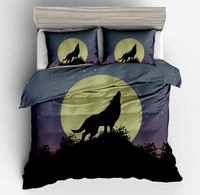3D Galaxy Wolf Printed Animal Blue black Bedding Sets Duvet Cover Boy/Adult Pillow case Home ornament Twin Full Queen King size