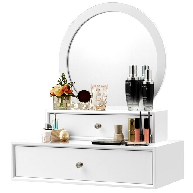 US $88.61 30% OFF Bedroom Furniture White Makeup Dresser Table Dressing  Wall Mounted Vanity Mirror with 2 Drawer HW61310-in Dressers from Furniture  on ...