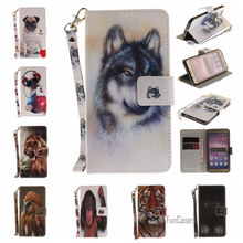 Fasion Animal Painted PU Leather Flip Wallet Case For Huawei Ascend P8 Lite 2017 Wolf Dog Pattern For Huawei Honor 8 P10 Lite P9(China)