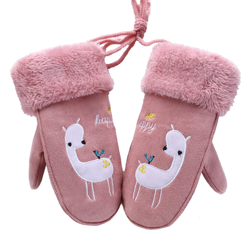 Children's Lovely Cartoon Bear Suede Leather Mittens Boys/Girls Winter Plus Plush Thick Warm Print Sheep Sports Play Glove 102AB