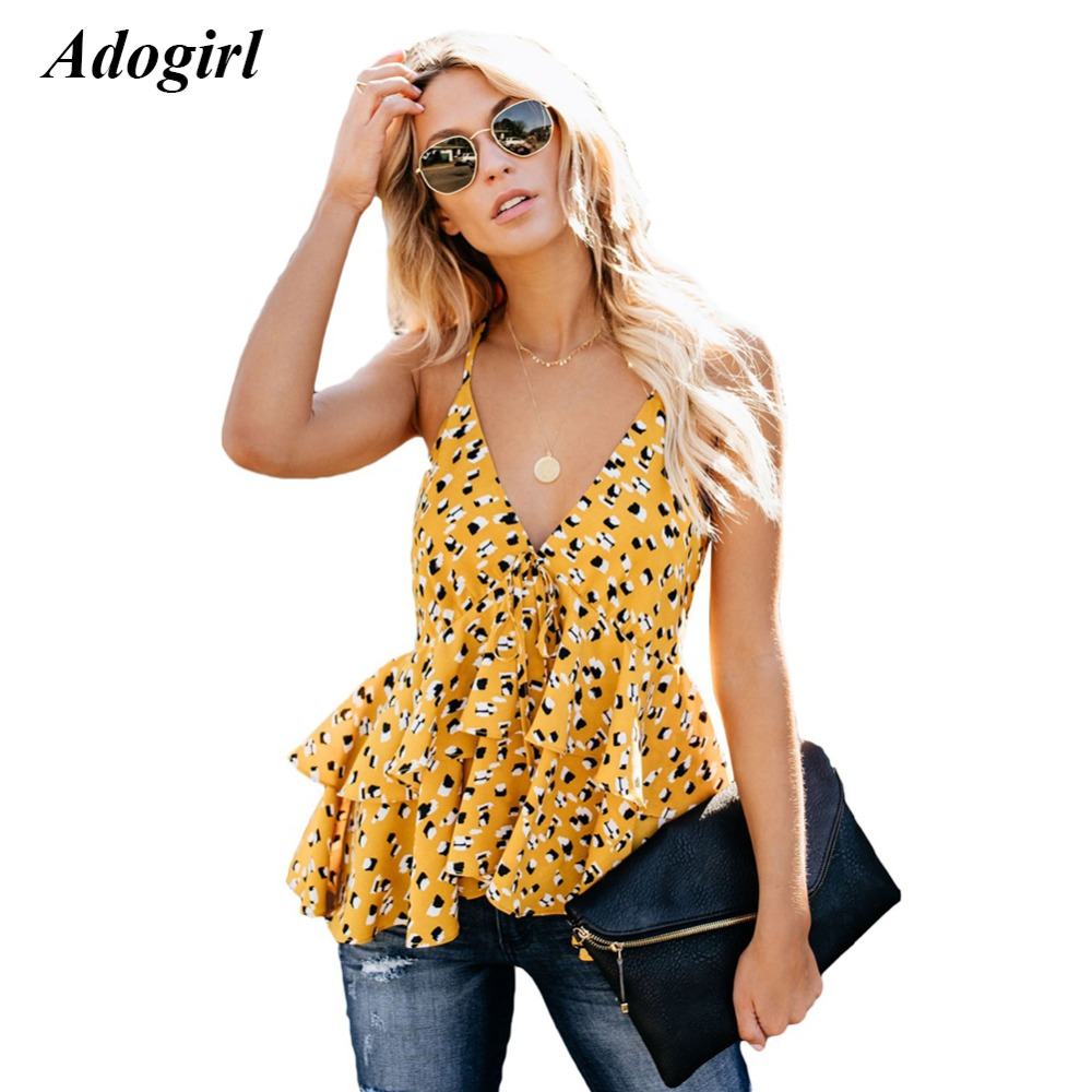 Adogirl Casual Sleeveless Ruffles Print Women Top Sexy V Neck Spaghetti Strap Camis Women Tank Top Outwear Beach T Shirt Women
