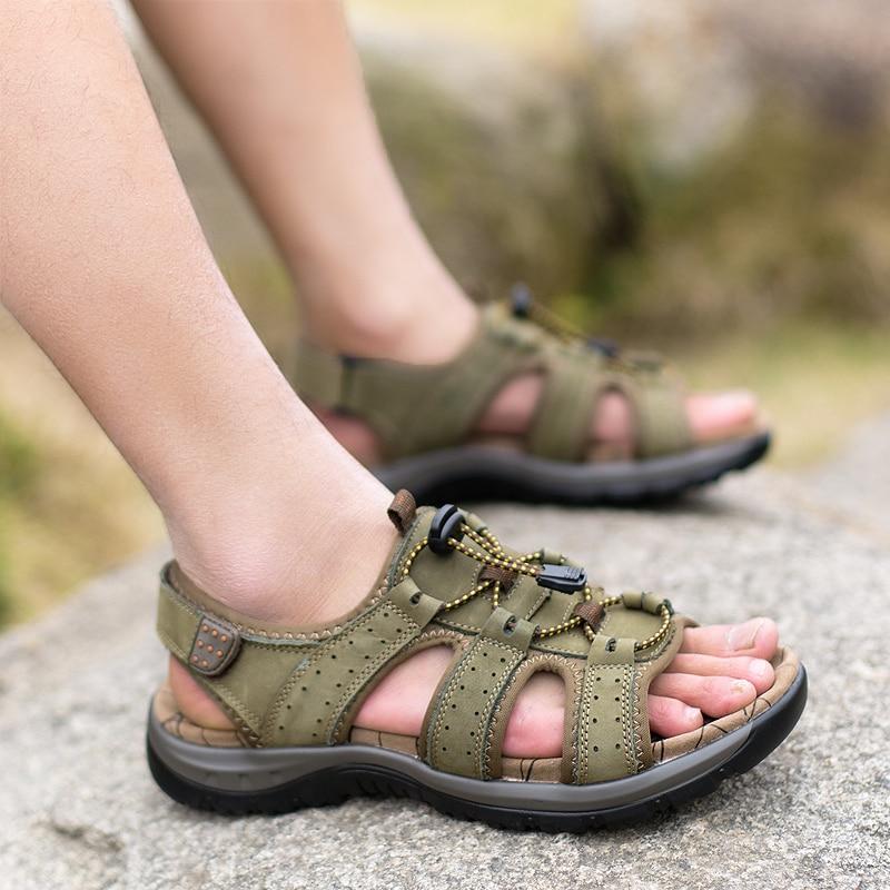Kulit Asli Pria Sandal Musim Panas Pantai Sepatu Fashion Baru - Sepatu Pria - Foto 6