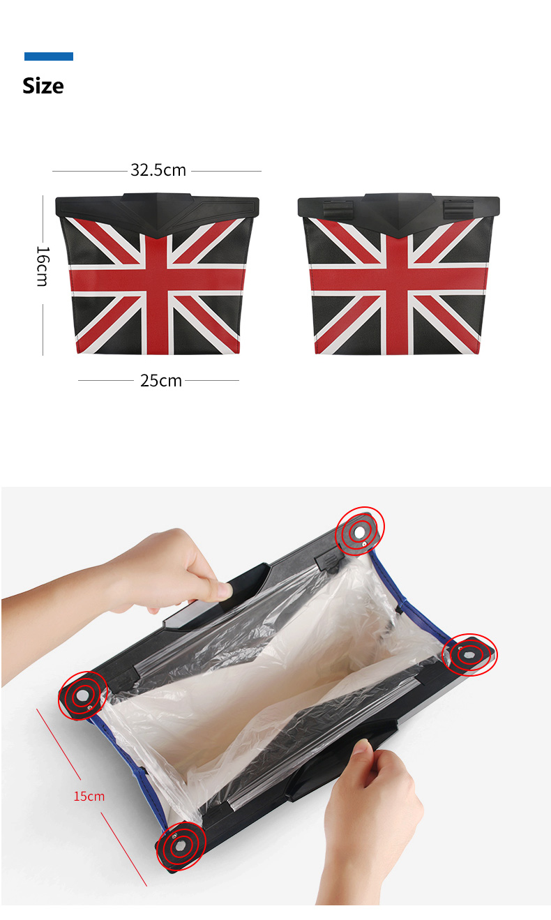 Leather Car Seat Storage Bag Trash Bag Basket for Mini Cooper R55 R56 R57 R58 R59 F54 F55 F56 F57 Countryman R60 F60 (7)