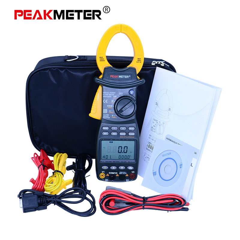 PEAKMETER Digital Clamp Meter MS2203 MS2205 Single/3-Phase Digital Power True-RMS 4 Wire Harmonious Clamp Current Circuit Meter zipabox power current clamp 35a
