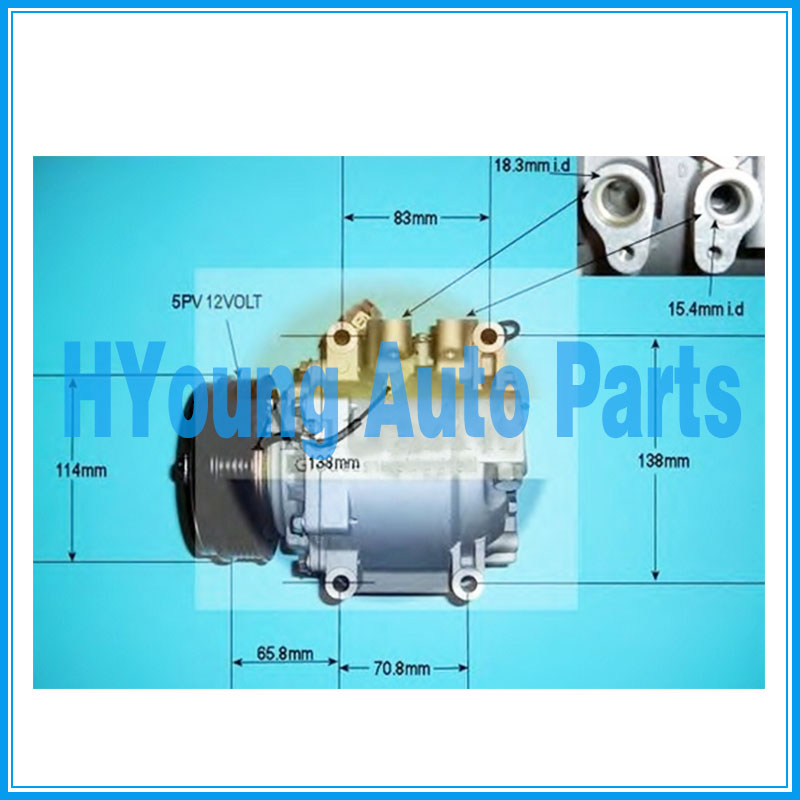 38810PWAJ02 38800 P14 006 38800P14006 auto ac  Compressor  for Honda Jazz II  Keihin HS 090R HS090R 108 mm 5pk|A/C Compressor & Clutch| |  - title=