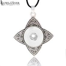 Metal Fashion Interchangeable Flower Crystal Ginger Necklace 028 Fit 18mm Snap Button Pendant Charm Jewelry For Women Gift
