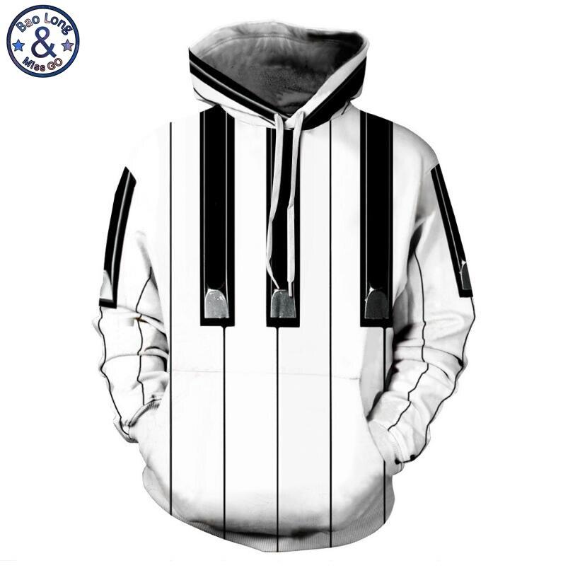 Mr. Baolong новые поступление Забавный дизайн Пианино ключи 3D печатных толстовки с капюшоном Модный пуловер с капюшоном Кофты человек 282