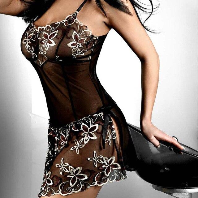 Sexy Lingeries Plus Size XL XXL XXXL 5XL 6XL Women Black Lace Embroidery Sexy Cute Lingerie Pajamas Underwear Skirts Nightwear 2