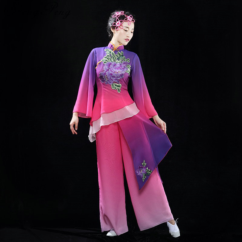 Chinese folk dance costume for woman Traditional chinese dance costumes Long sleeve woman festival performance costume CC151