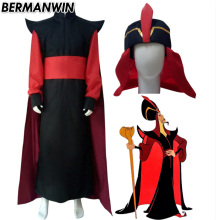 BERMANWIN High Quality Aladdin Jafar Costume Full Set With Hat Halloween Cosplay Costume for adult men  sc 1 st  AliExpress.com : adult jafar costume  - Germanpascual.Com
