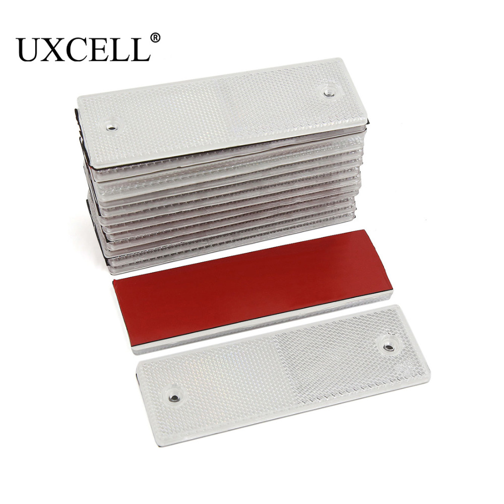 UXCELL 15PCS White Car Truck Plastic Rear Bumper Mount Adhesive Reflector with Screw Holes 145 x 50 x 6mm Reflective Strips     -