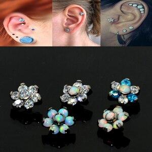 Image 3 - BOG 10 Piece G23 Titanium Opal Gem Labret Lip Bar Ring Opal&Zircon Flower Ear Cartilage Tragus Helix Piercing Screw Fit Top 16g