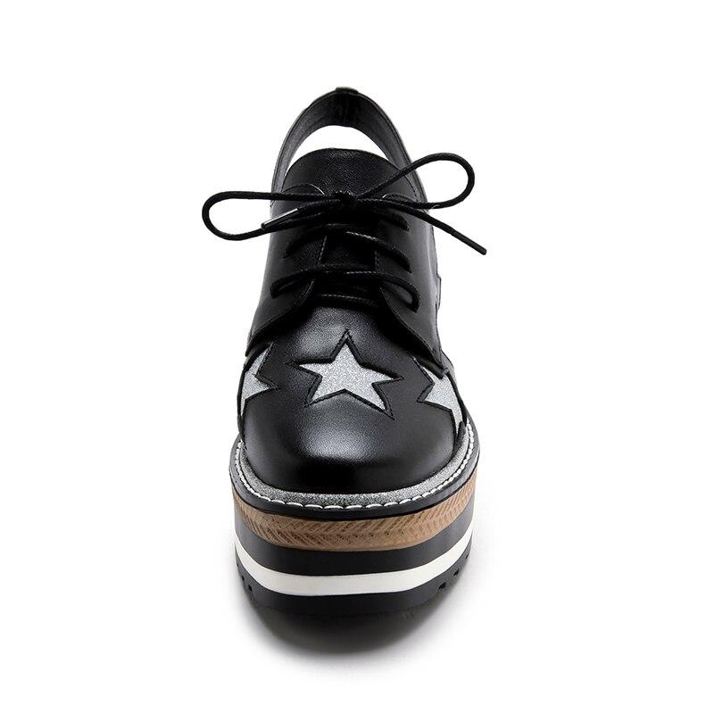 Plate Cuir Vaaction 34 39 forme Étoiles À En Femmes Taille Hauts Coolcept Fahsion Talons Chaussures Sandales blanc D'été Véritable Dames Noir 3jRq5A4L